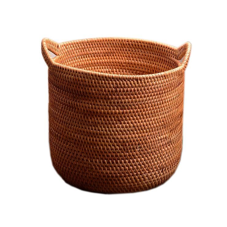 Large Hand Woven Fruit Basket With Handle Large Woven Basket Vietnam Round Basket Craft Baskets Large Woven Basket Storage Baskets Wicker Baskets Storage