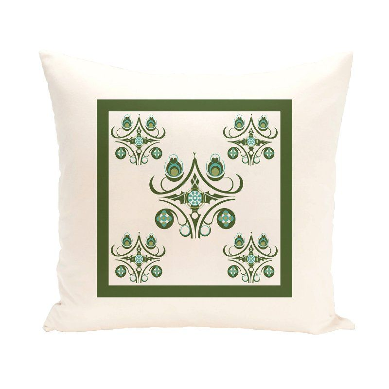 E by Design Boxed-In Decorative Pillow Ivory / Green Polyester - PGN147IV3GR7-20