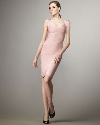 Cap-Sleeve Bandage Dress, Petal-Pink by BCBGMAXAZRIA at Neiman Marcus Last Call.