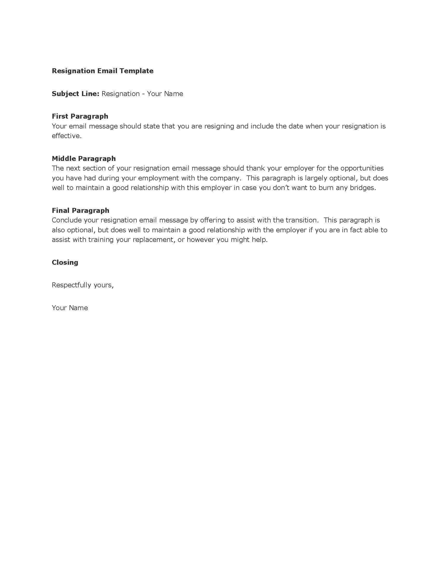 Template Resignation Email Business Email TemplateWriting A Letter ...