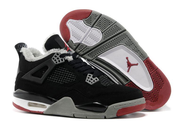 Buy Inexpensive Popular Online To Buy Air Jordan 4 Iv Cemenst Retro Mens  Shoes For Winter Fur Black Red from Reliable Inexpensive Popular Online To Buy  Air