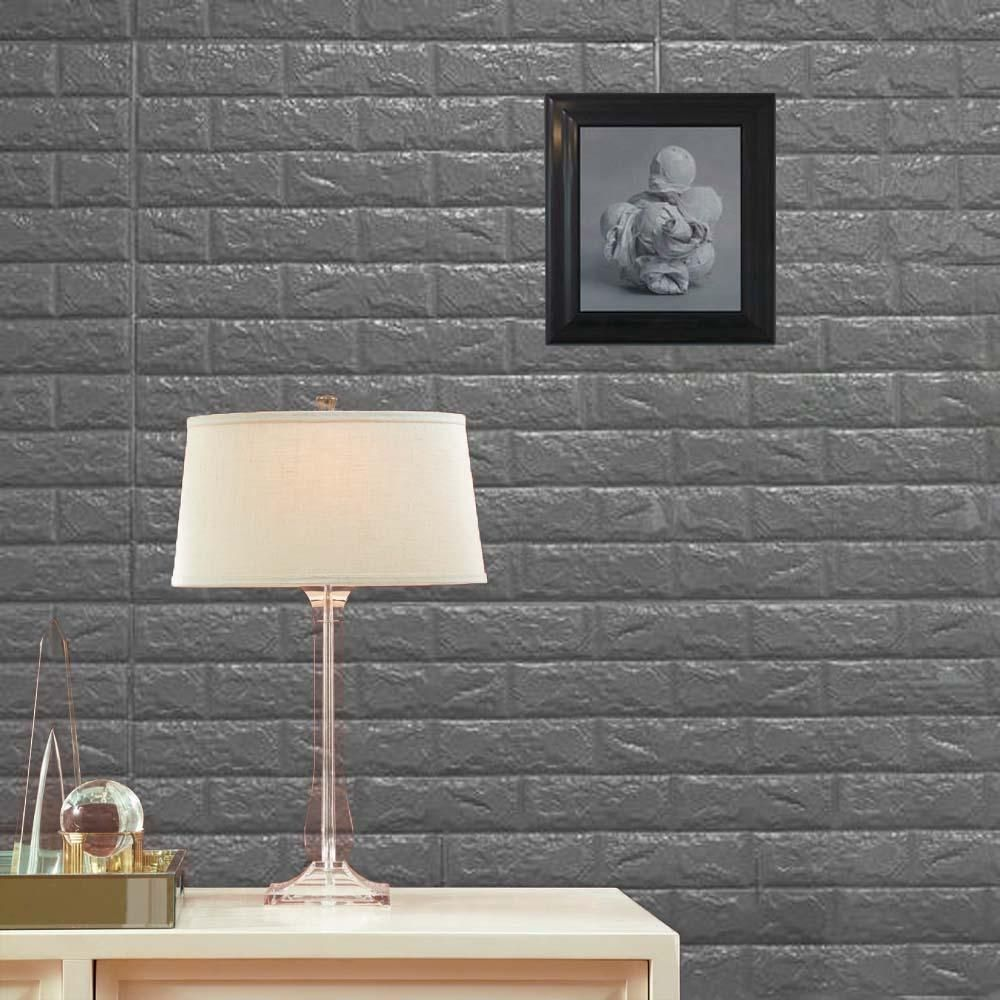 Pack Of 10 58 Sq Ft Metallic Silver Peel And Stick 3d Foam Brick Wall Tile In 2020 Wall Treatments Wall Paneling 3d Wall Panels