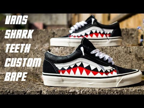 e31b2571a91 Custom Bape Shark Teeth Vans