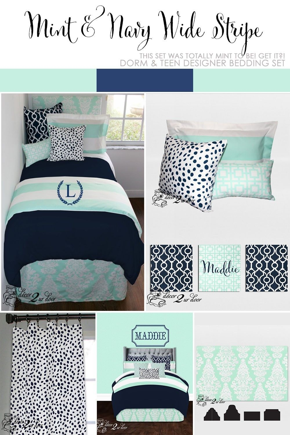 Mint And Navy Nautical Dorm Room Décor More Available In All Bed Sizes Twin Full Queen King Custom Pillows Exclusive Scarf