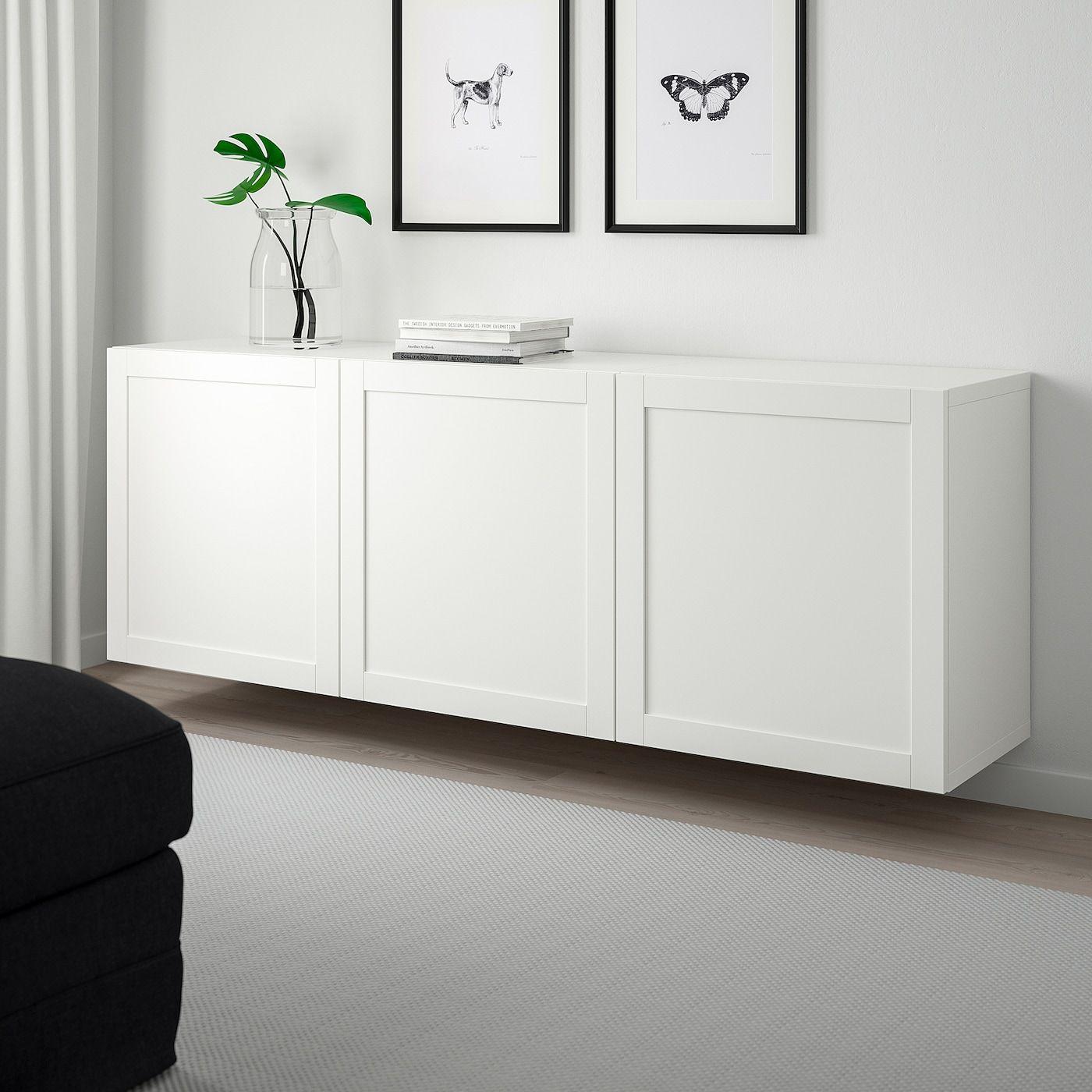 Besta Schrankkombination Fur Wandmontage Weiss Hanviken Weiss Ikea Osterreich Wall Mounted Cabinet Ikea Wall Floating Cabinets
