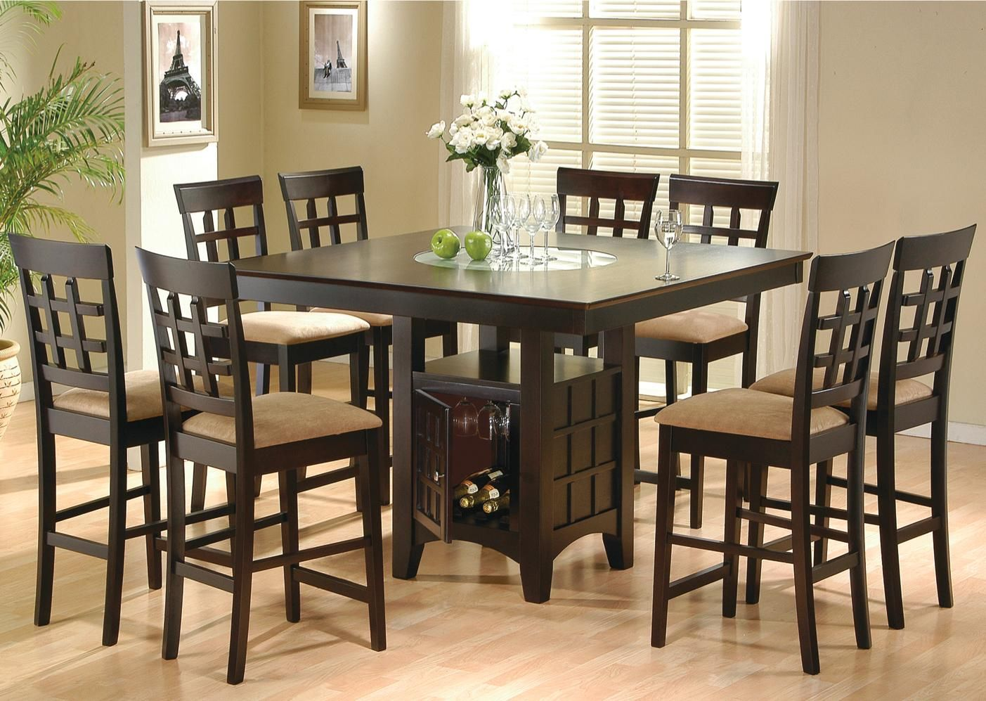 Coaster Hyde Counter Height Square Dining Table With Storage Base In CappuccinoTable Only The Sq Features A Built Frosted Glass Lazy