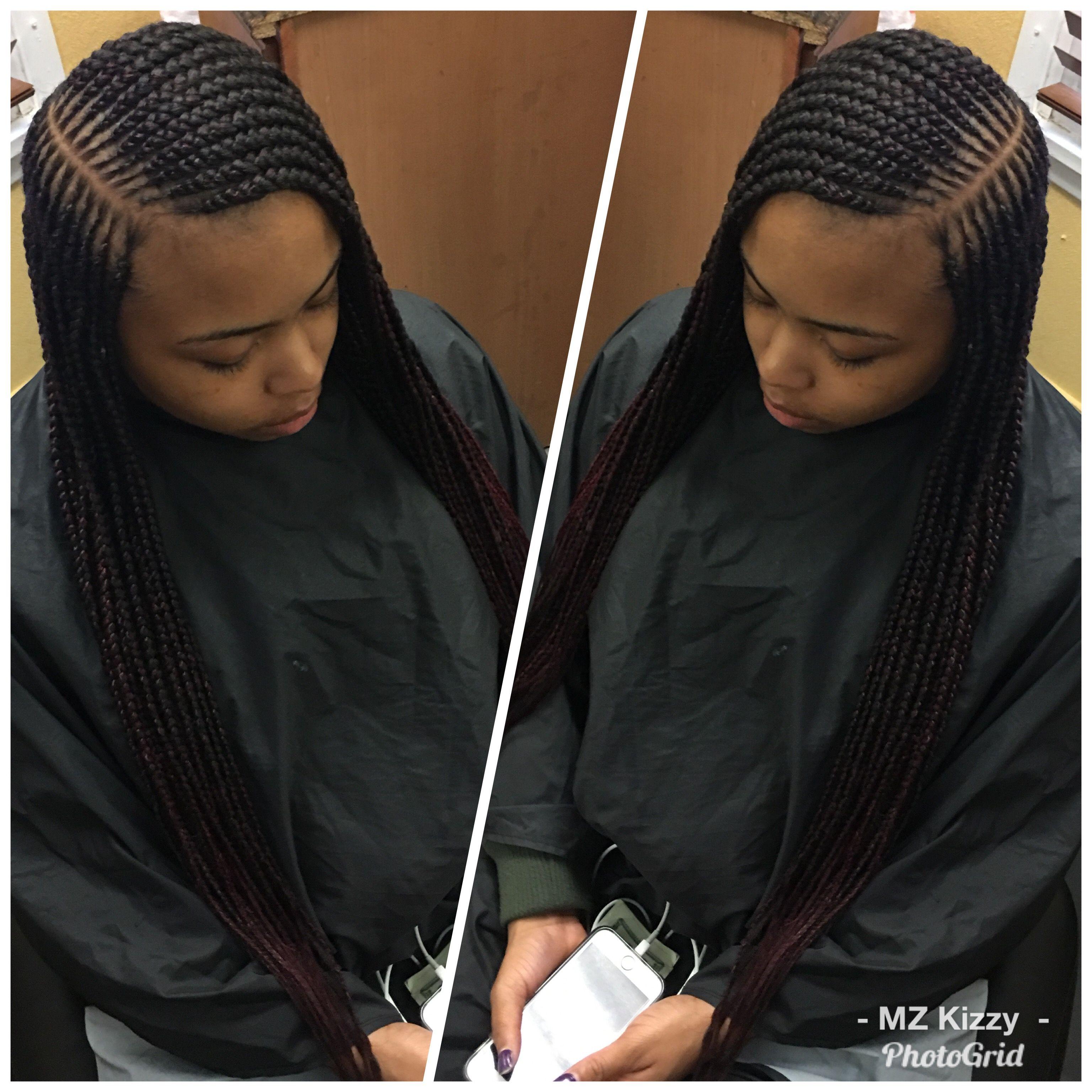 2 Layer Feeder Braids W Side Part Braided Hairstyles African Hair Braiding Styles Hair Styles