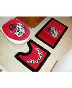 "Georgia 3 Piece Bath Rug Set by Belleview. $41.38. Great Gift Idea.. Width: NA. Length: NA. Height: NA. Dimensions:. These three piece bath sets are a fun way to spruce up your bathroom. Fun for students, alumni, and fans alike. These rug sets make a great pair with our collegiate shower curtains. The bath mat is 20""X30"", the seat cover and pedestal mats are standard size. 100% acrylic with non-skid back. Save 35%!"