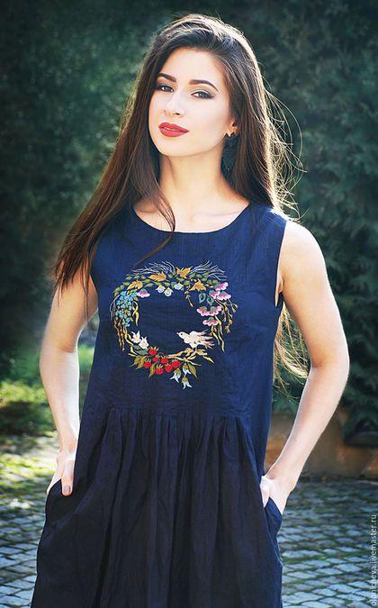 Linen dress with hand embroidery   Платья ручной работы. Ярмарка Мастеров - ручная  работа. cee003d408e