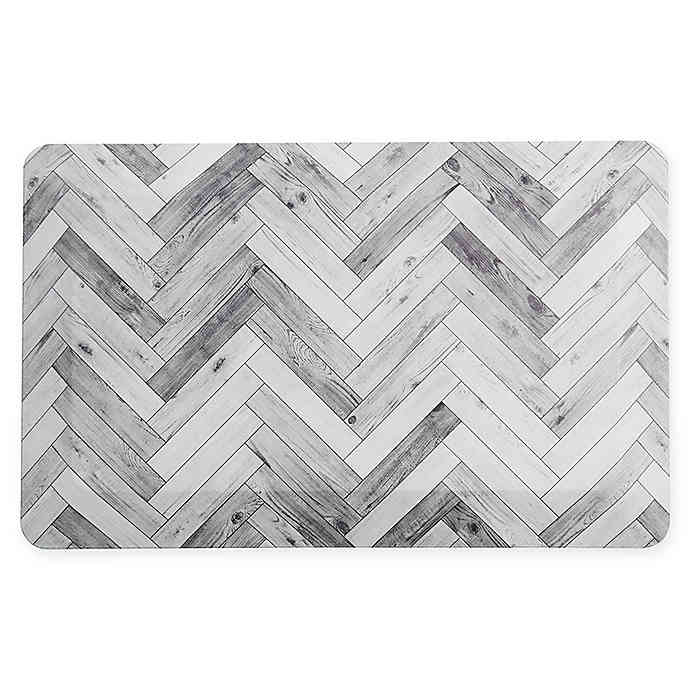 Bee Willow Home Chevron 20 X 32 Comfort Air Kitchen Mat In Light Grey In 2020 Kitchen Mat Kitchen Rugs And Mats Chevron