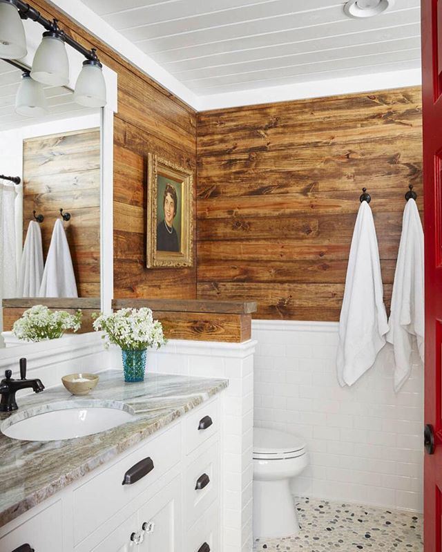 This Bathroom From Hgtvmagazine Features Stained Shiplap Walls And A Painted Ceiling Click The