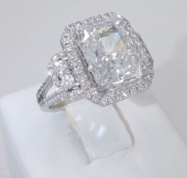 5.04CT G Color Radiant cut diamond matching 0.70ct Pave Halo 18k engagement ring