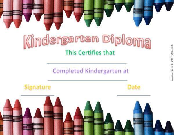 Kindergarten graduation certificate cert Pinterest