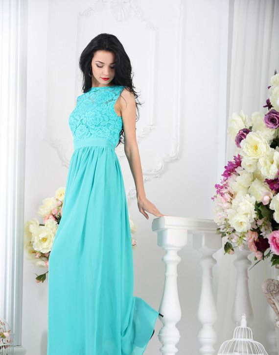 Turquoise Bridesmaid Maxi Dress Blue Lace By Dioriss