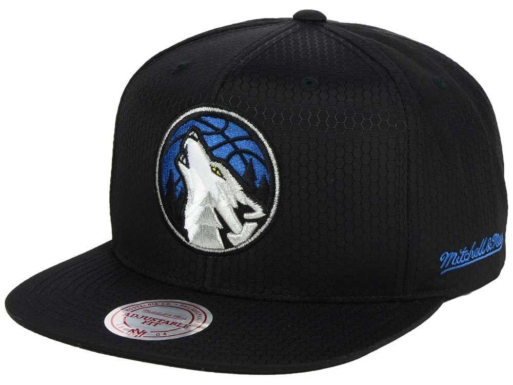 quality design a6e75 04865 Minnesota Timberwolves Mitchell   Ness NBA Black Ripstop Honeycomb Snapback  Cap