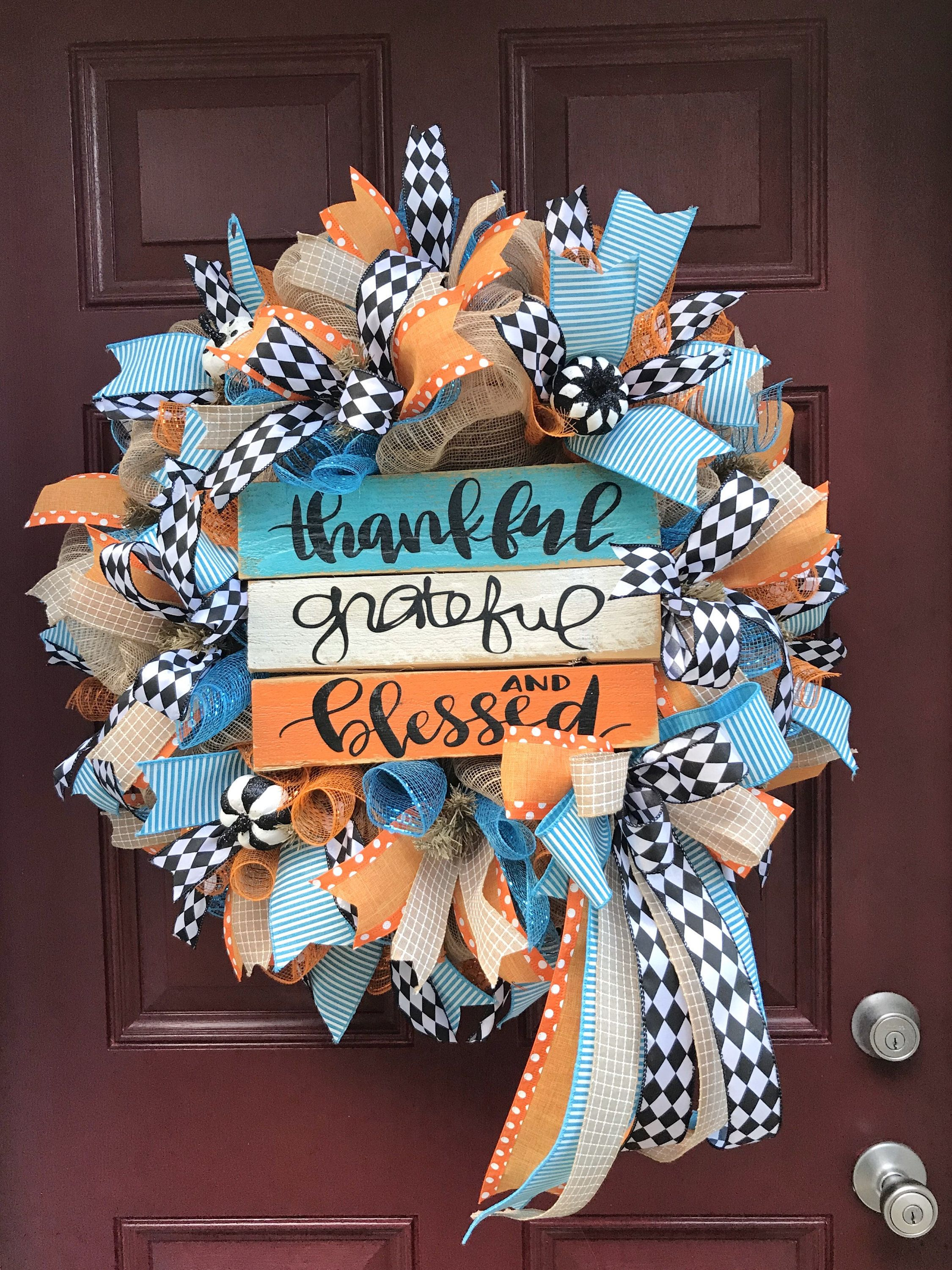 Photo of Fall Wreath for Front Door, Autumn Decoration, Front Porch Decor, Thanksgiving Wreath, Rustic Thankful Wreath, Thankful Grateful Blessed
