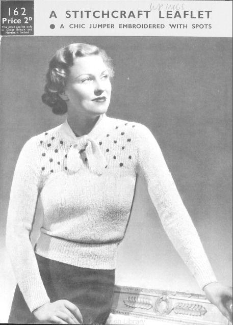 0ea3f5f674fc10 Free Vintage Knitting Pattern from 1930s - very chic tie-neck with  embroidered spots from 1939