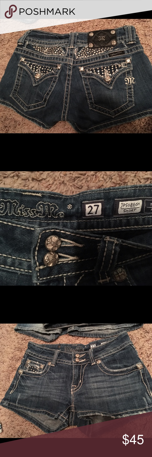 Dont fit. Reposhing. These are 14 width. Cute lots of bling! All rhinestones in tact. Miss Me Shorts Jean Shorts