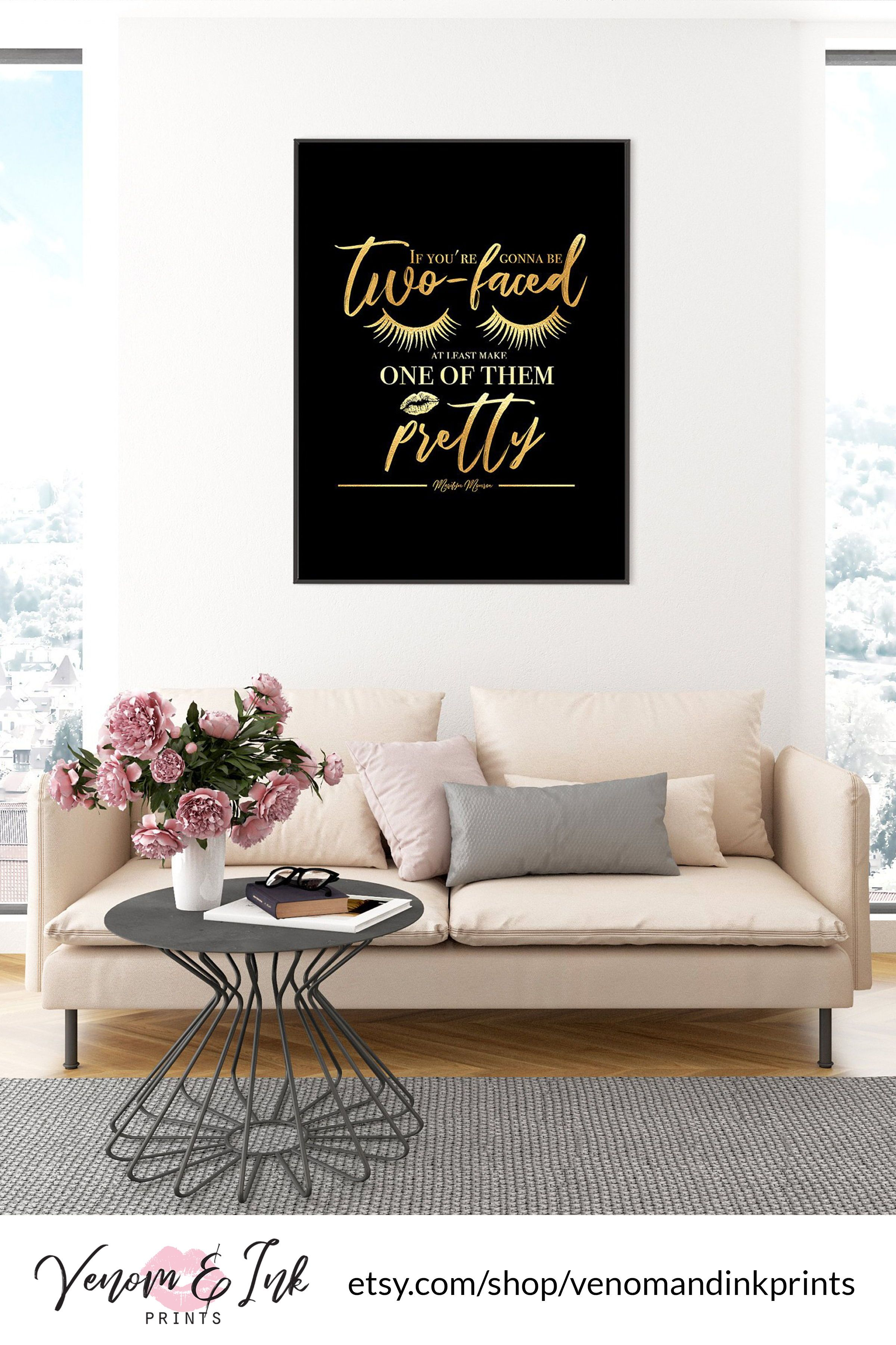 Marilyn Monroe Quote Wall Art Black And Gold Printable Black And Gold Print Black And Gold Decor Black And Gold Wall Art Gold Foil Print Gold Decor Gold Wall Art Black And
