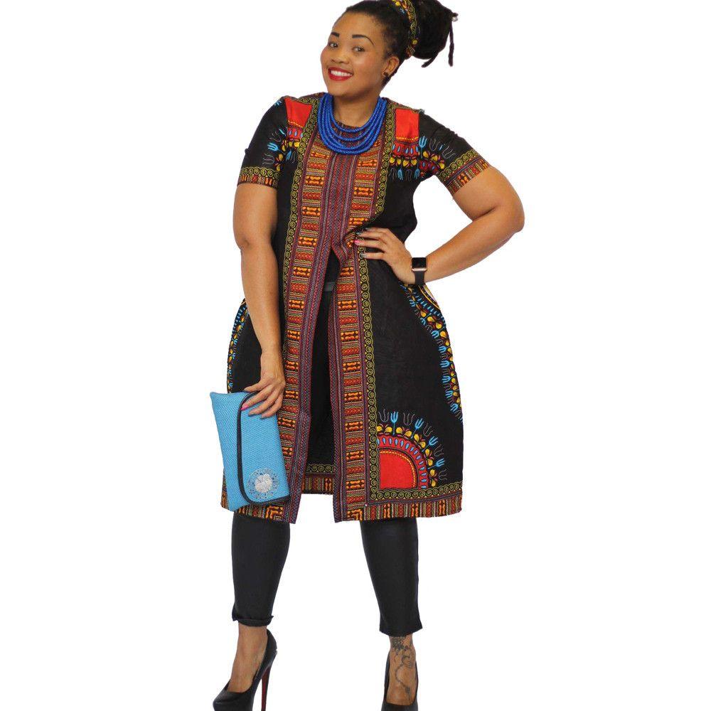 afrikanischen print kleider frauen dress kurzarm plus größe frauen