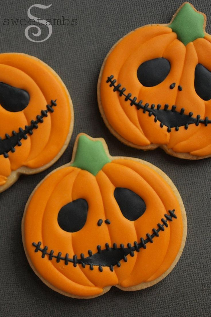 Halloween Cookies - Jack Skellington Jack O'Lanterns