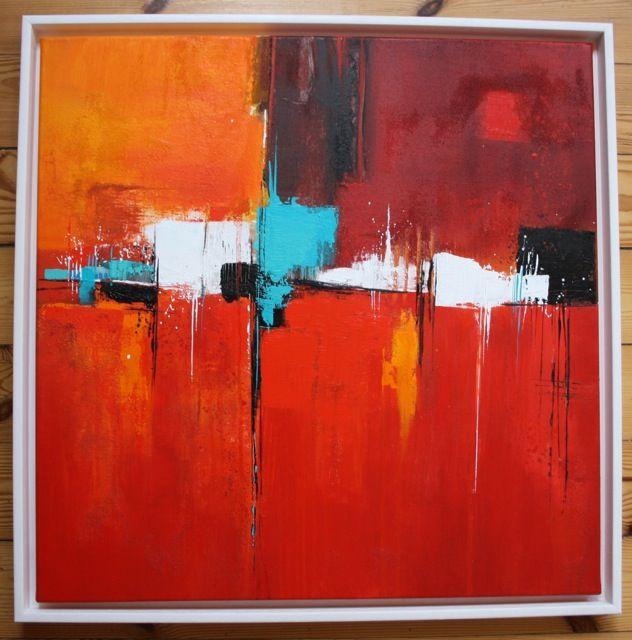 abstraktes in rot mischtechnik 60x60 cm abstrakte malerei abstrakt bilder grau acryl kunst
