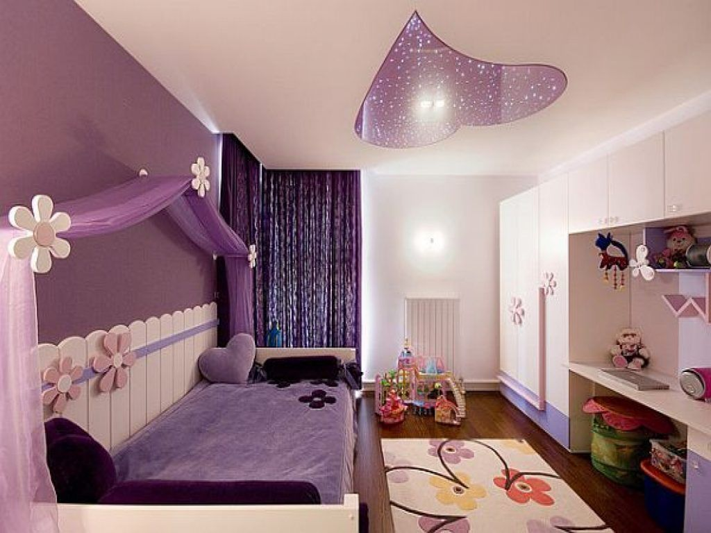 Good Design Teenage Girl Bedroom Design   Purple Wall   Canopy Teen Room