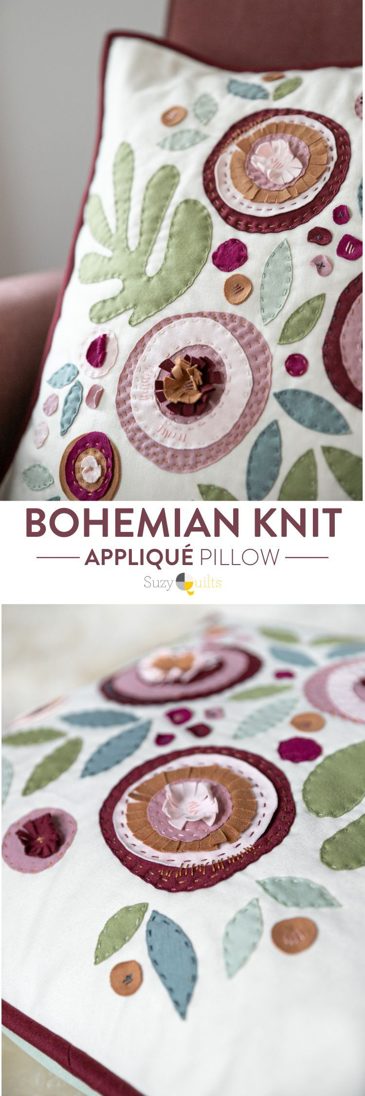 How to Make a Modern Appliqué Pillow With Knits - Suzy Quilts