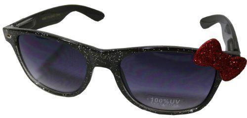 aa509b10f Sanrio Hello Kitty Shiny Glitter Style Designer Inspired Wayfarer Sunglasses  - Black Frame w/ Red Bow