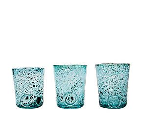 Set de 3 vasos de vidrio Luminous - turquesa