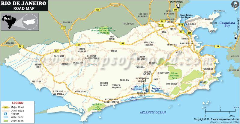 Rio De Janeiro Road Map Rio De Janeiro Tourist Rio De Janeiro