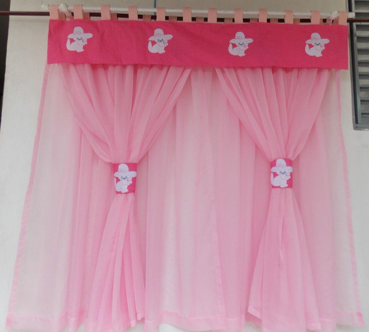 Cortina infantil voil rosa bando de algod o bandos de - Bandos para cortinas ...