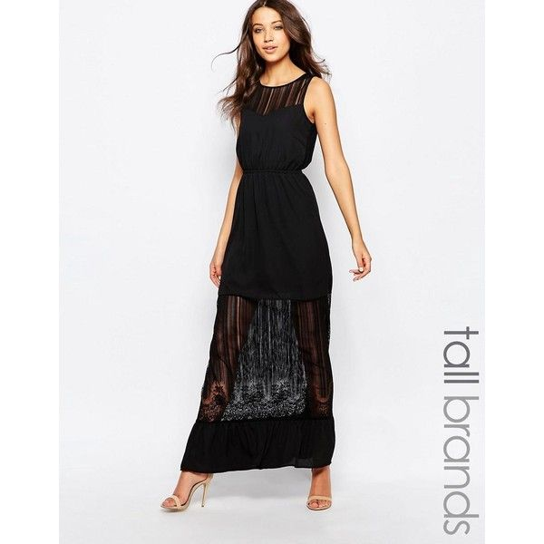 Vero Moda Tall Sheer Insert Maxi Dress (£34) ❤ liked on Polyvore featuring dresses, black, slimming dresses, see through dress, sheer dress, braid dress and elastic waist dress