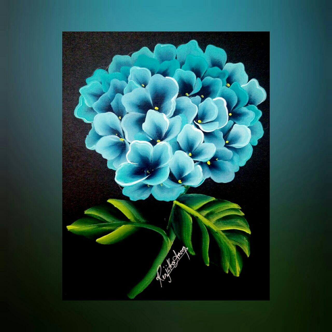 One Stroke Painting Hydrangea Acrylic Painting Hydrangea Flower Painting Renjitha Anoop Acrylic Painting Flowers Flower Painting Hydrangea Painting