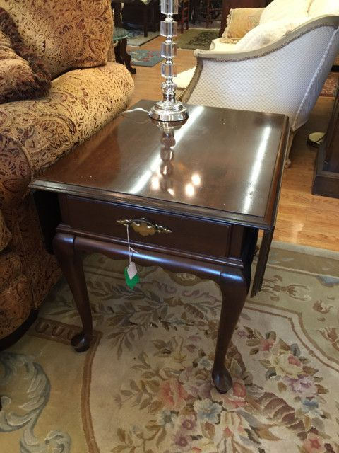 Ethan Allen End Table W/ Drawer, Drop Leaf