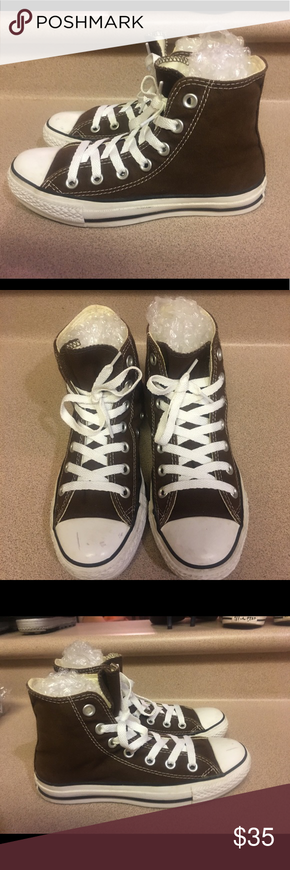 5586fce5813c Spotted while shopping on Poshmark  Converse Brown Hi Top Chuck Taylor  Women 5!  poshmark  fashion  shopping  style  Converse  Shoes