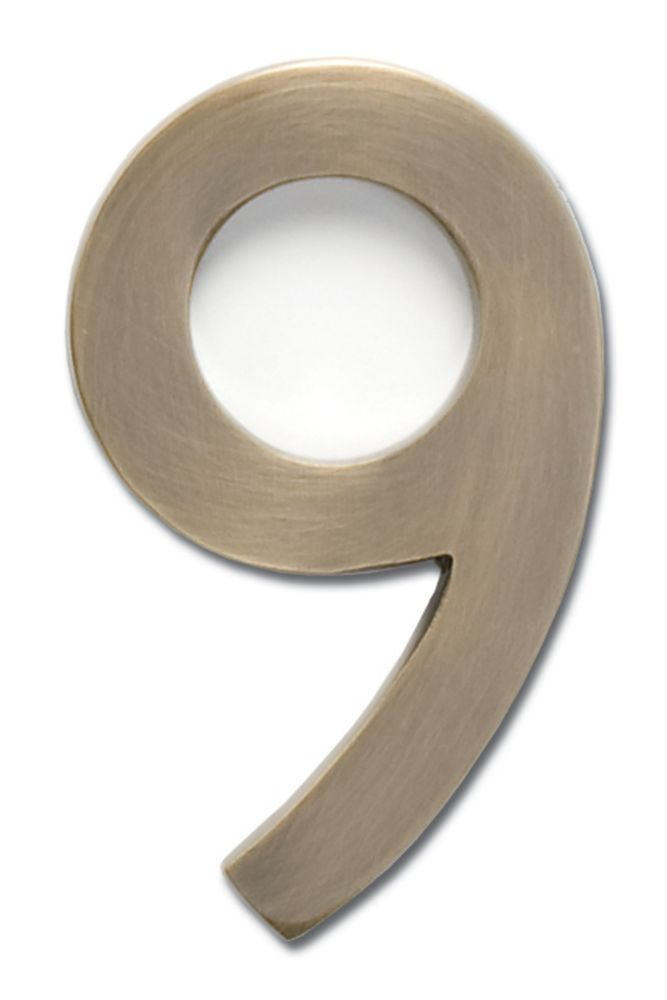 Solid Cast Brass 4 Inch Floating House Number Antique Brass 9 Architectural Mailboxes House Numbers Floating House
