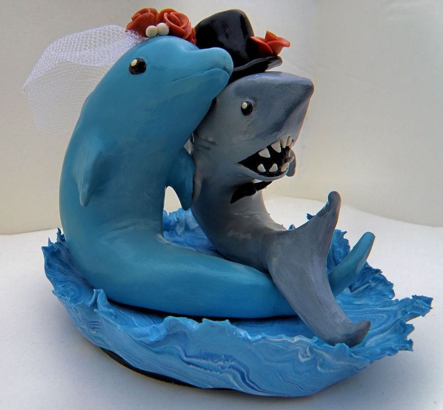 A Wedding Cake Topper Friend Of Mine Requested For Her Sculpted From Sculpey Premo And Painted In Acrylics Shark Dolphin