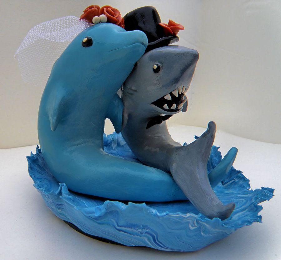 Shark and Dolphin Cake Topper by MercuryBlazedeviantartcom on