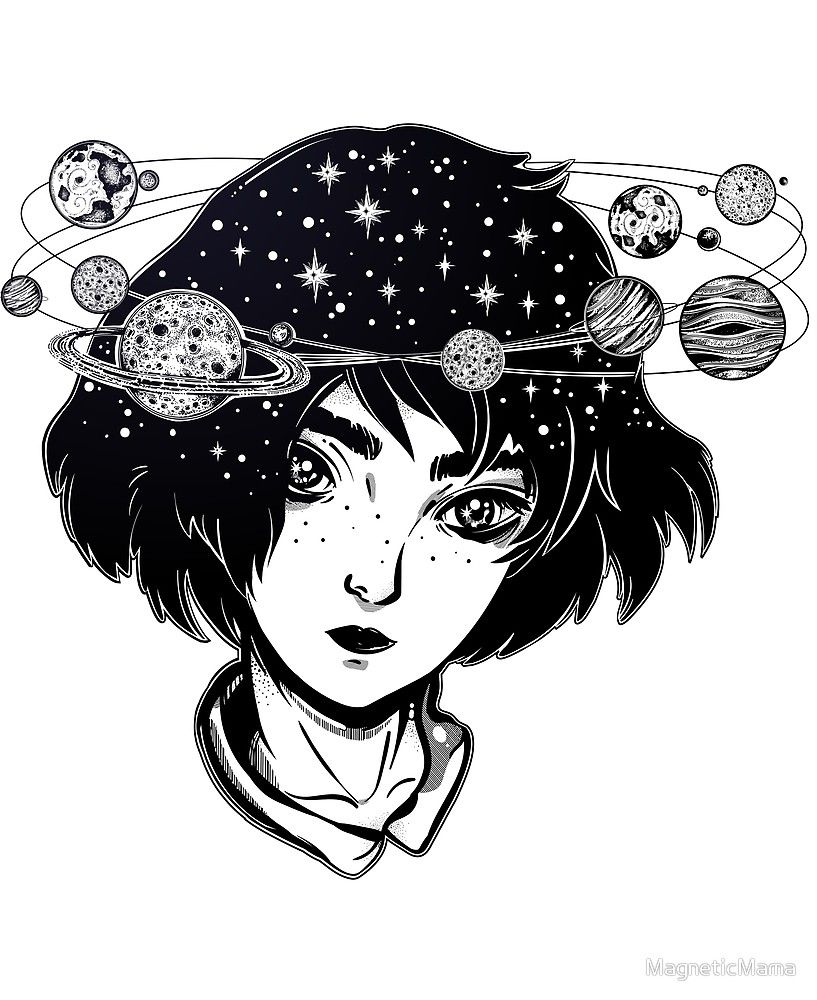 Halo Of Planets Outer Space Girl With Head Full Of Stars And