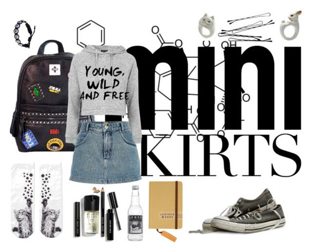 """""""mini ^^"""" by blood-my-soul ❤ liked on Polyvore featuring Chicnova Fashion, Topshop, River Island, Monki, Bobbi Brown Cosmetics and MINISKIRT"""