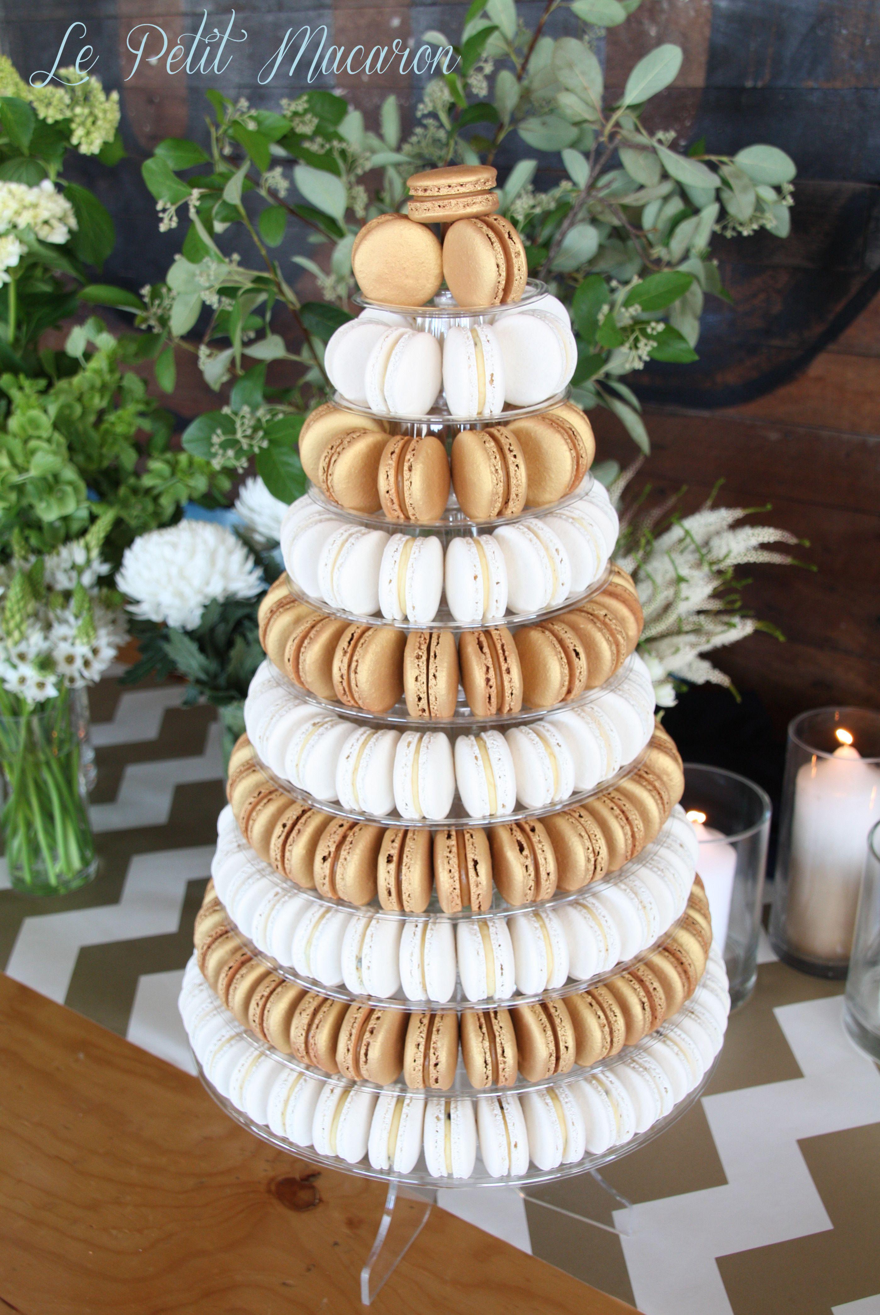 Gold White Macaron Tower Le Petit Macaron Macaroon Wedding