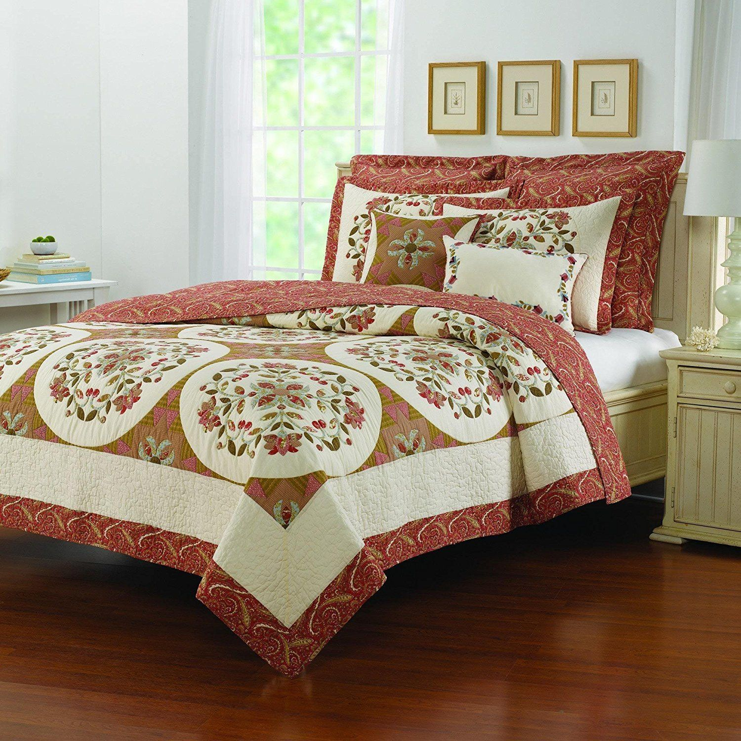 Dark Brown Twin Floral Medallion Paisley Quilt Golden Patterned Shabby Chic Printed Teen Bedding Kids Bedroom