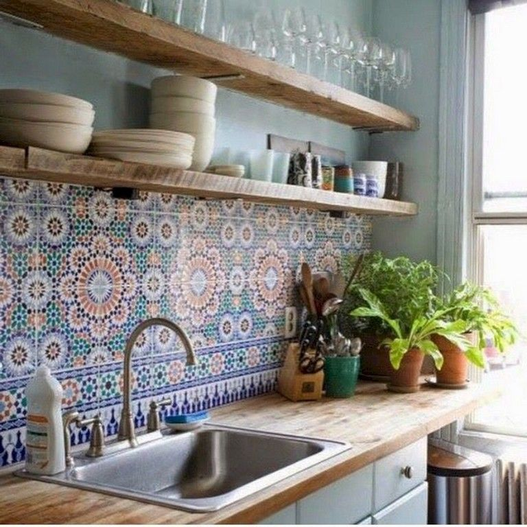 32 Lovely Bohemian Kitchen Decor For Cozy Kitchen Inspiration 5 Decoratifo Com In 2020 Bohemian Kitchen Decor Kitchen Shelf Design Interior Design Kitchen