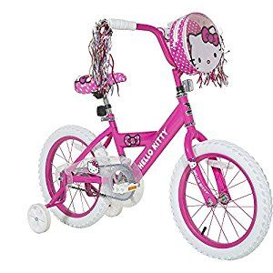 Dynacraft Hello Kitty Coaster Brake Kids Bike For Girls 16 Inch With Training Wheels Front Bag And Handlebar Streamer Kids Bike Hello Kitty Bike Kids Bicycle