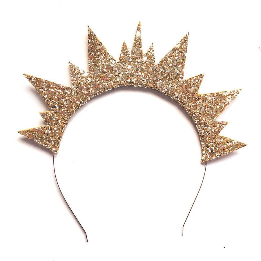 Glitter Spiked Crown Headband in Pale Gold  1ad8173b009