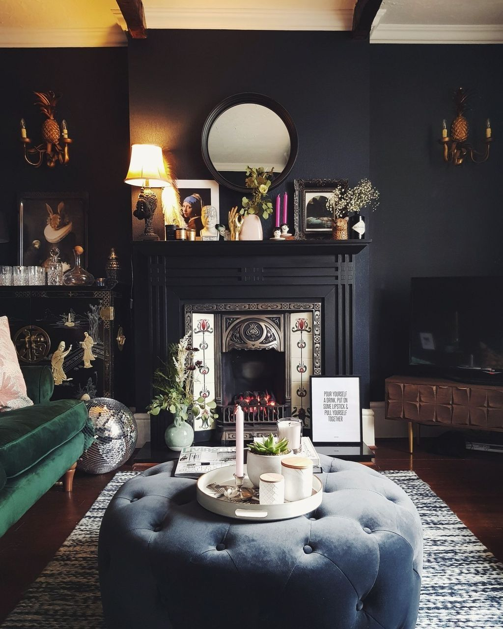 40 Stunning Living Room Decoration Ideas With Fireplace Dark Blue Living Room Victorian Living Room Dark Living Rooms