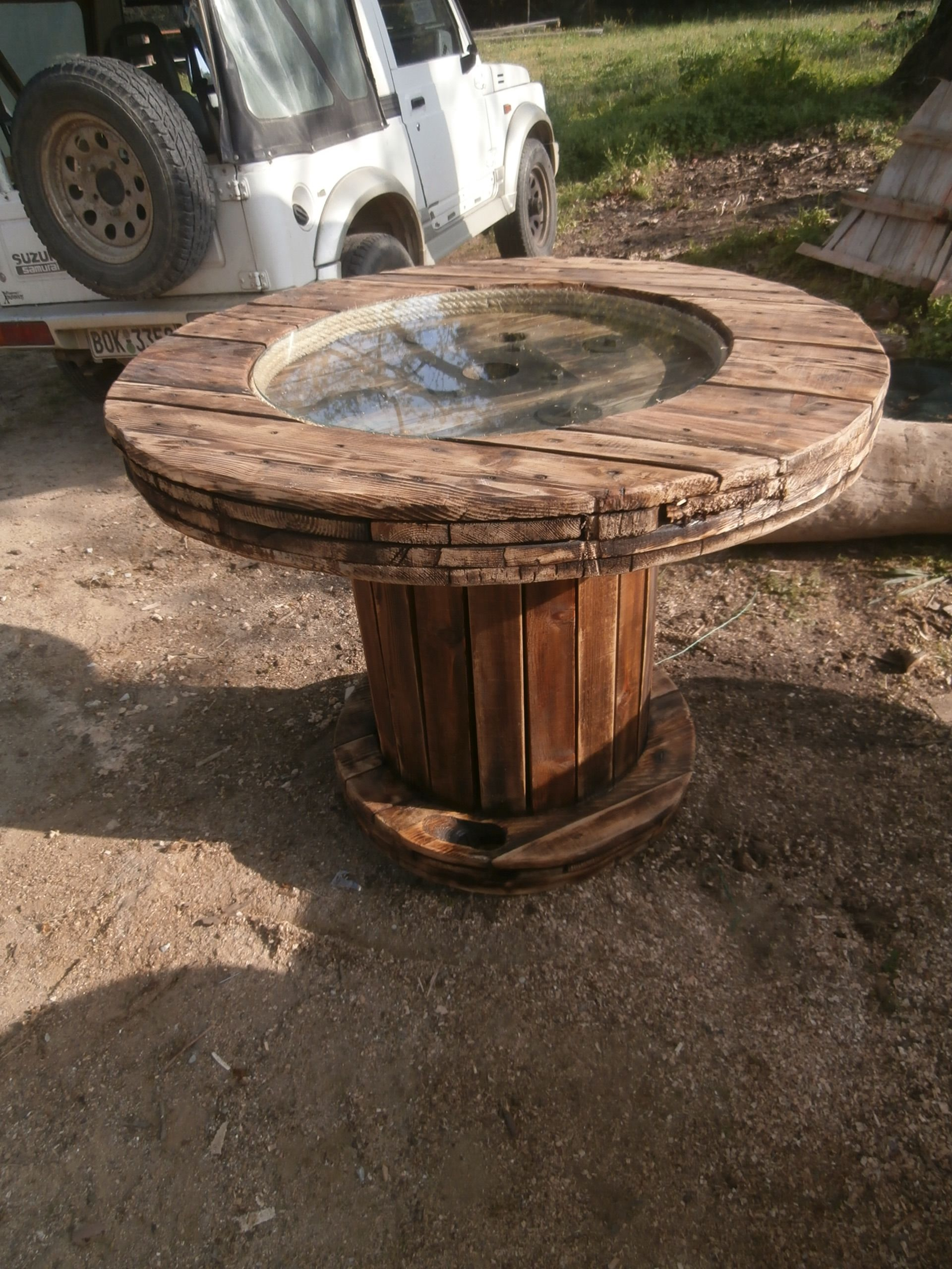Upcycled wooden cable reel made into a table