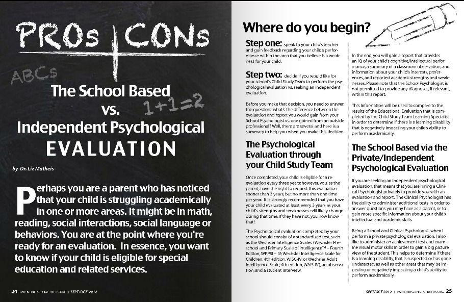 The School Based vs Independent Psychological Evaluation by Dr Liz