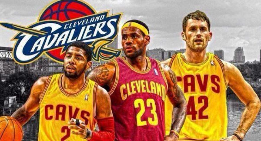 LeBron James,Kyrie Irving, Kevin Love (though love is #0)